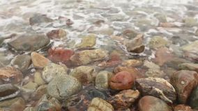 De kust is velen rots met golf stock video
