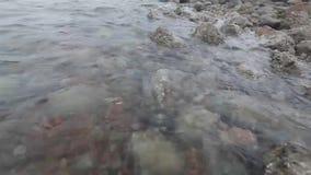 De kust is velen rots met golf stock videobeelden