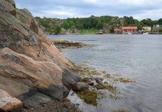 De kust Zweeds landschap van de fjord Stock Foto