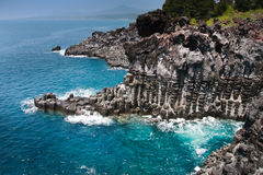 De kustlijn Jusangjeolli op Eiland Jeju Stock Foto