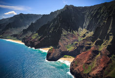 De Kustlijn Kauai van Na Pali stock afbeeldingen
