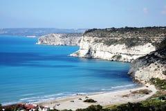 De kustlijn in Kourion, Cyprus Stock Afbeelding
