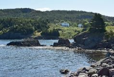 De kustlijn van de conceptiebaai dichtbij Haven belangrijkst-Kapel ` s inham-Lakeview NL Canada stock afbeelding