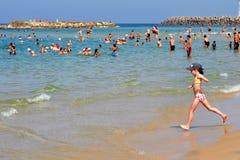 De Kustlijn van de Middellandse Zee van Israël stock foto's