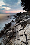 De kustlijn van de nacht Stock Afbeelding