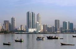 De kustlijn van de stadsgebouwen van Panama Royalty-vrije Stock Afbeelding