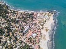 De kustlijn van Gambia van de lucht Royalty-vrije Stock Afbeelding