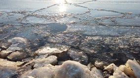 De kustlijn van het overzees met ijs en water stock footage
