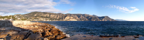 De kustlijn van het panorama royalty-vrije stock afbeelding
