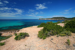 De kustlijn van Ibiza Royalty-vrije Stock Afbeeldingen