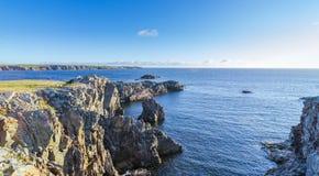 De kustlijn van kaapbona vista in Newfoundland, Canada Stock Foto's