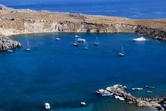 De kustlijn van Lindos - Griekenland royalty-vrije stock afbeeldingen