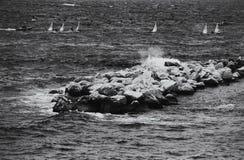 De kustlijn van Napels Stock Afbeeldingen