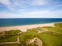 De kustlijn van Norfolk, zonnige dag bij het strand Royalty-vrije Stock Afbeeldingen