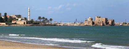 De Kustlijn van Sidon, Libanon stock afbeeldingen