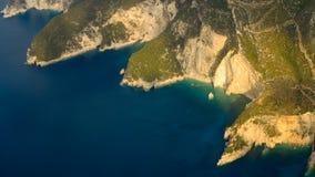 De kustlijn van Zakynthos, vliegtuigmening Royalty-vrije Stock Afbeelding