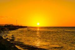 De kustlijnzonsondergang van Montego Bay Jama?ca royalty-vrije stock afbeelding