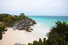 De kustmening van de God van Windentempel in Tulum, Yucatan, M Stock Fotografie