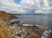 De kustmening van Maria Island over de fossiele mening van het klippenlandschap Stock Foto