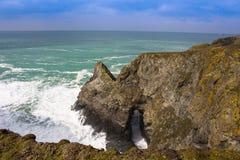 De kustweg van Bedruthenstappen, Noord-cornwall kust Royalty-vrije Stock Fotografie