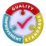 De kwaliteitsverbetering normen Het vinkje in de vorm van een raadsel stock illustratie