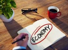 De Kwesties van zakenmanbrainstorming about economic royalty-vrije stock foto
