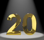 De l'or 20ème ou vingt numéro 3d Photos stock