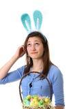 De l'adolescence avec l'oreille de lapin Photographie stock