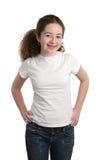 De l'adolescence dans le T-shirt blanc Images libres de droits