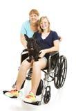 De l'adolescence handicapé avec la maman Images libres de droits