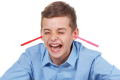 De l'adolescence heureux Les crayons salissent à la maison Manière drôle d'avoir l'amusement Image libre de droits