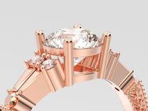 de l'illustration 3D de fin engageme décoratif de solitaire d'or rose  Image libre de droits