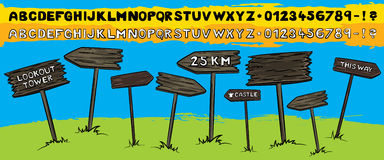 de l'illustration en bois de touristes de signe de flèche Images stock