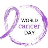 4 de l'illustration de vecteur de jour de Cancer du monde de février Symbole pourpre d'aquarelle - ruban rose de crayon Ruban tir illustration libre de droits