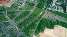 De la antena del top opinión abajo del tráfico por carretera en Dresden, Alemania Fotografía de archivo