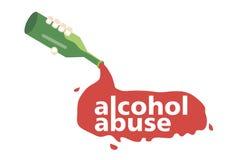 De la botella vierte el alcohol con el abuso de alcohol de las palabras Foto de archivo
