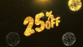25 de la celebración, deseos, saludando el texto en el fuego artificial de oro ilustración del vector