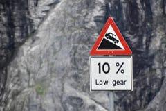 De la colina señal de tráfico escarpada hacia abajo Fotografía de archivo libre de regalías