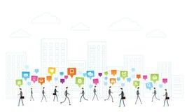 De la comunicación del vector hombres de negocios sobre el fondo blanco de la ciudad stock de ilustración