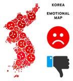 De la Corée du Sud du nord de vecteur mosaïque malheureuse de carte et des smiley tristes illustration stock