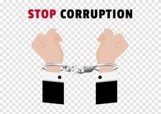 De la corrupción de la parada el campaing con las manos del hombre de negocios arrestó control poniendo las esposas de plata y ce stock de ilustración