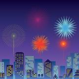 De la cuenta festival y fuegos artificiales del Año Nuevo abajo Imagenes de archivo