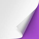 De la esquina encrespada del Libro Blanco en Violet Purple Background Foto de archivo libre de regalías
