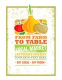 De la ferme pour ajourner le concept local frais d'impression de nourriture Bannière organique créative sur le fond affligé par g illustration de vecteur