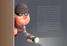De la historieta 3d del ladrón de Character Flashlight Peeping ejemplo criminal del vector del diseño de la esquina hacia fuera ilustración del vector