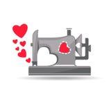 De la machine à coudre avec amour Images libres de droits