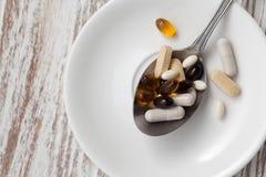 De la mezcla del suplemento todavía del antioxidante vida Foto de archivo