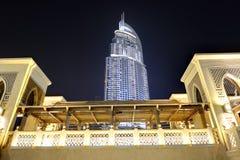 De la noche de la opinión ciudad abajo de la ciudad de Dubai Foto de archivo libre de regalías
