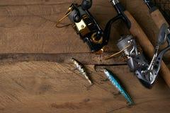 De la rotation, des crochets, du filet et des attraits de pêche Photos libres de droits