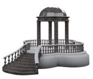 De la Rotonda complejo del jardín con una escalera del granito gris stock de ilustración